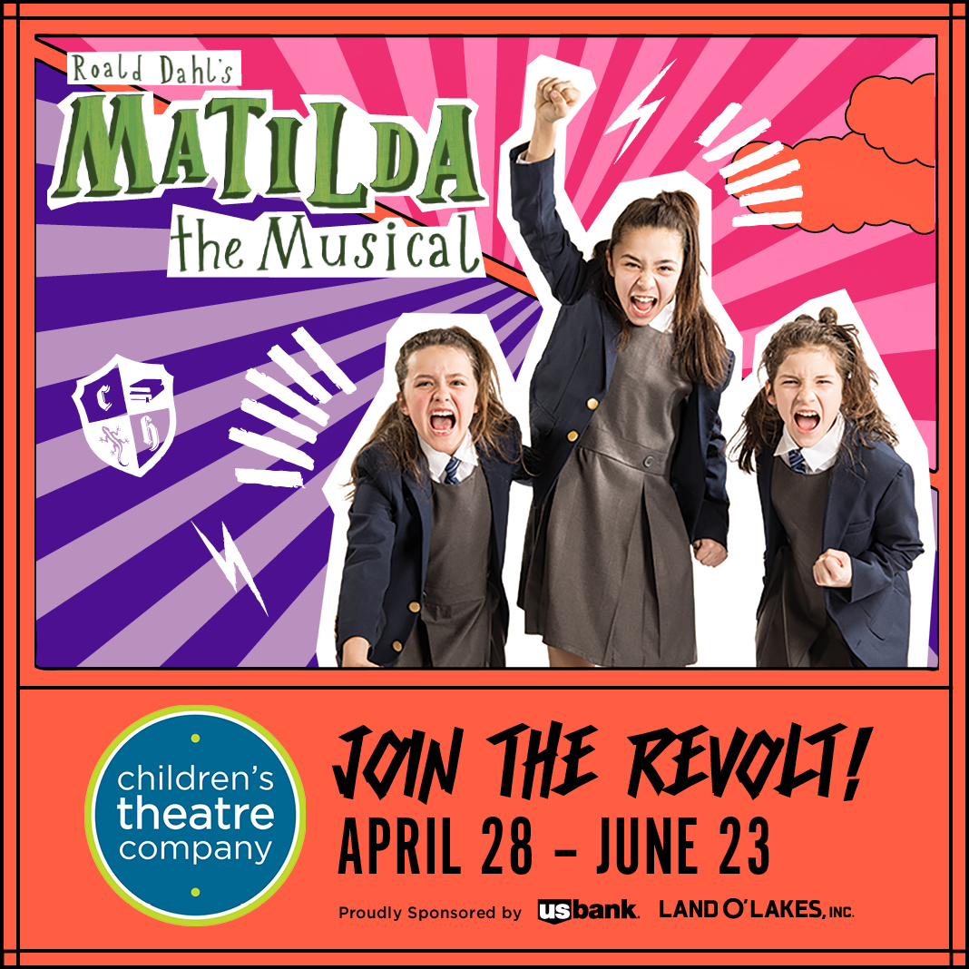 Promotional image of 3 girls for Roald Dahl's Matilda The Musical at Childrens Theatre Company 2019