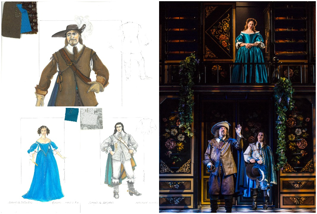 ennie Greenberry (Roxane), [bottom]: Jay O. Sanders (Cyrano de Bergerac) and Robert Lenzi (Christian) in the Guthrie Theater's production of Cyrano de Bergerac by Edmond Rostand, adapted and directed by Joseph Haj. Scenic design by McKay Coble, costume design by Jan Chambers, lighting design by Rui Rita, sound design by Elisheba Ittoop, and original music by Jack Herrick. March 16 – May 5, 2019 on the McGuire Proscenium Stage at the Guthrie Theater, Minneapolis. Photo by T Charles Erickson.