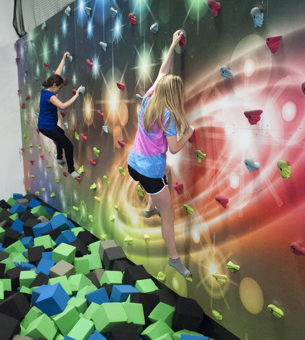Climbing wall at Zero Gravity Trampoline Park in Mounds View