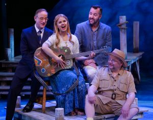 """During the number """"Thank You for the Music,"""" Michael Gruber, John-Michael Zuerlein, and Jay Albright as Harry, Sam, and Bill, sing with Jessica Fredrickson (center) at Chanhassen Dinner Theatres' """"Mamma Mia!"""""""