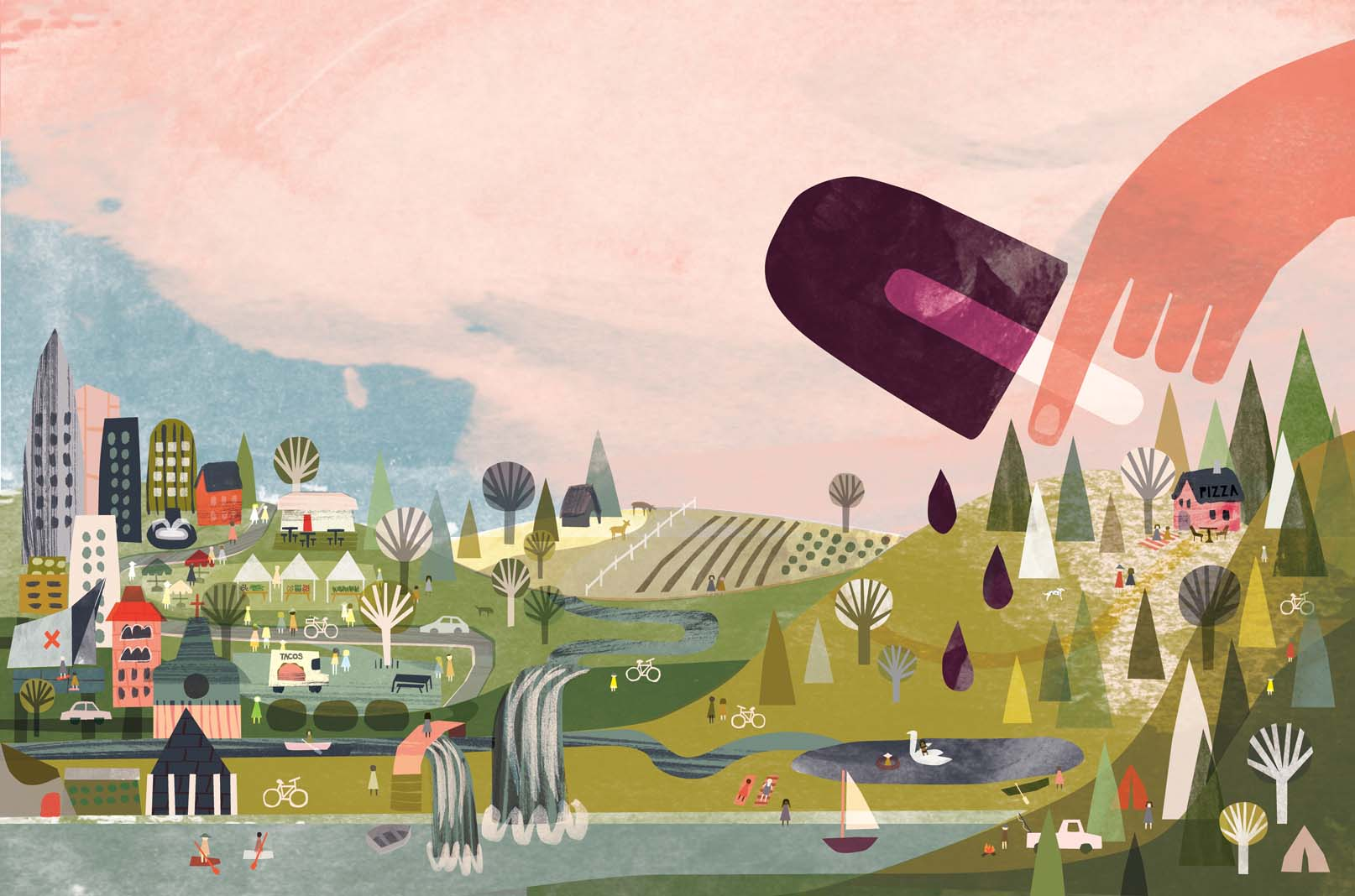 Illustration of the Twin Cities in summer