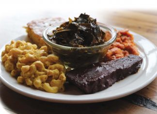 A delicious, soulful plate at Trio Plant-Based