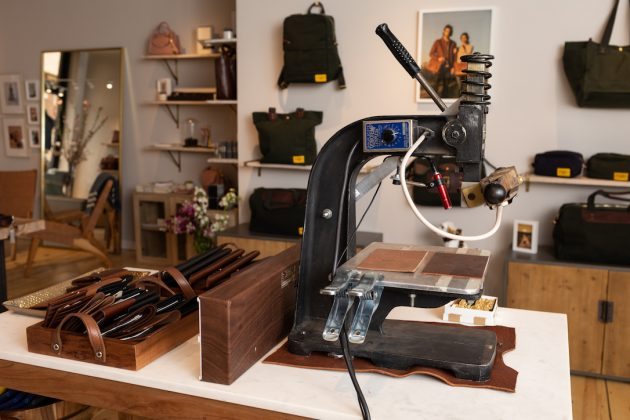 The monogram machine at the back of J.W. Hulme's store.
