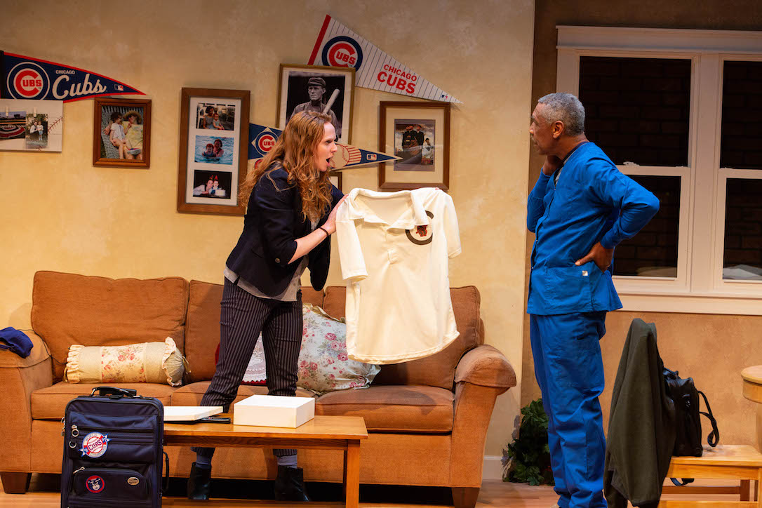 """Meredith Casey and JoeNathan Thomas in Mat Smart's """"Tinker to Evers to Chance"""" at Artistry. Photo by Devon Cox."""