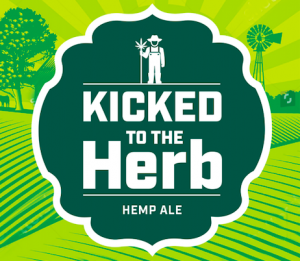 logo of Kicked to the Herb, a beer brewed with hemp oil