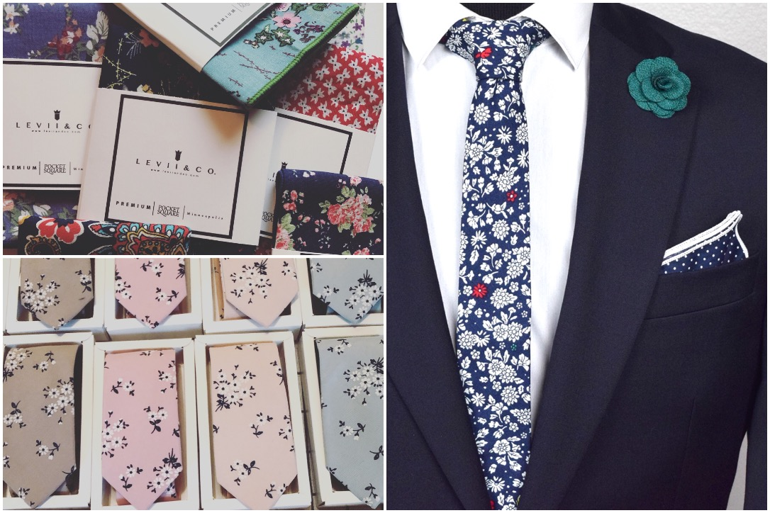 Levii & Co. designs pocket squares, lapel pins, ties, and more for the dapper man.