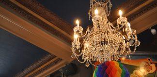 A Prideful chandelier at Café & Bar Lurcat