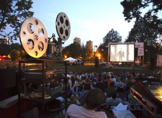 "Loring Park, participating in the Movies in the Park summer movie series, featuring Paul Newman in ""Hud"""