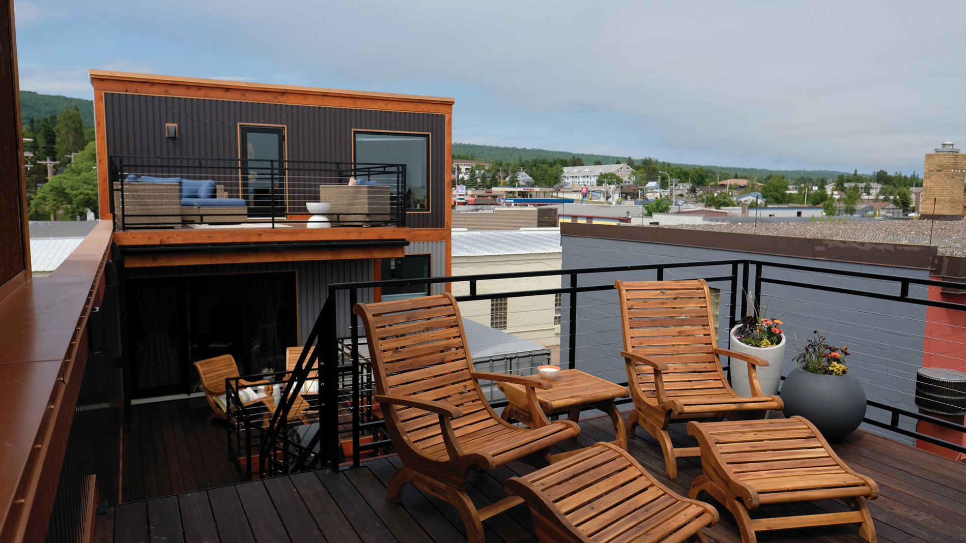 The roof deck looks out onto Grand Marais Harbor