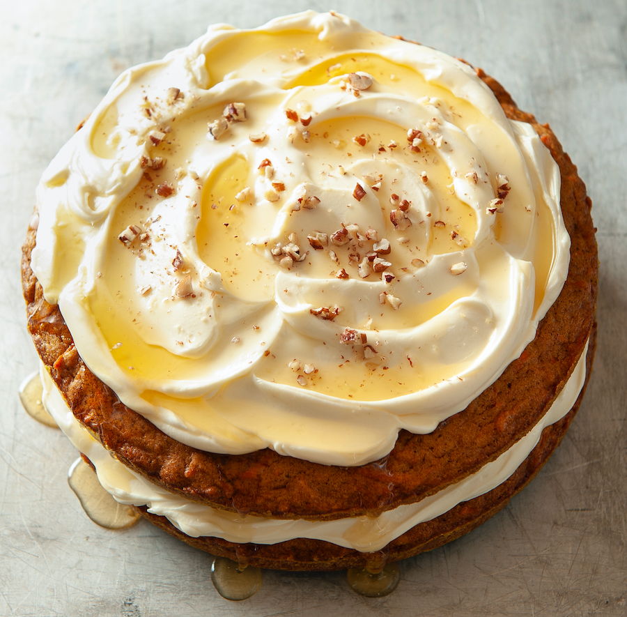 Carrot Cake with Honey Cream Cheese Frosting