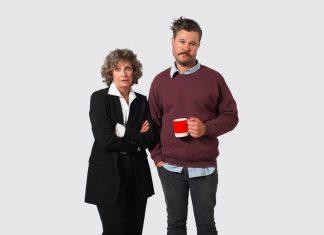 Actors John Catron and Sally Wingert in costume.