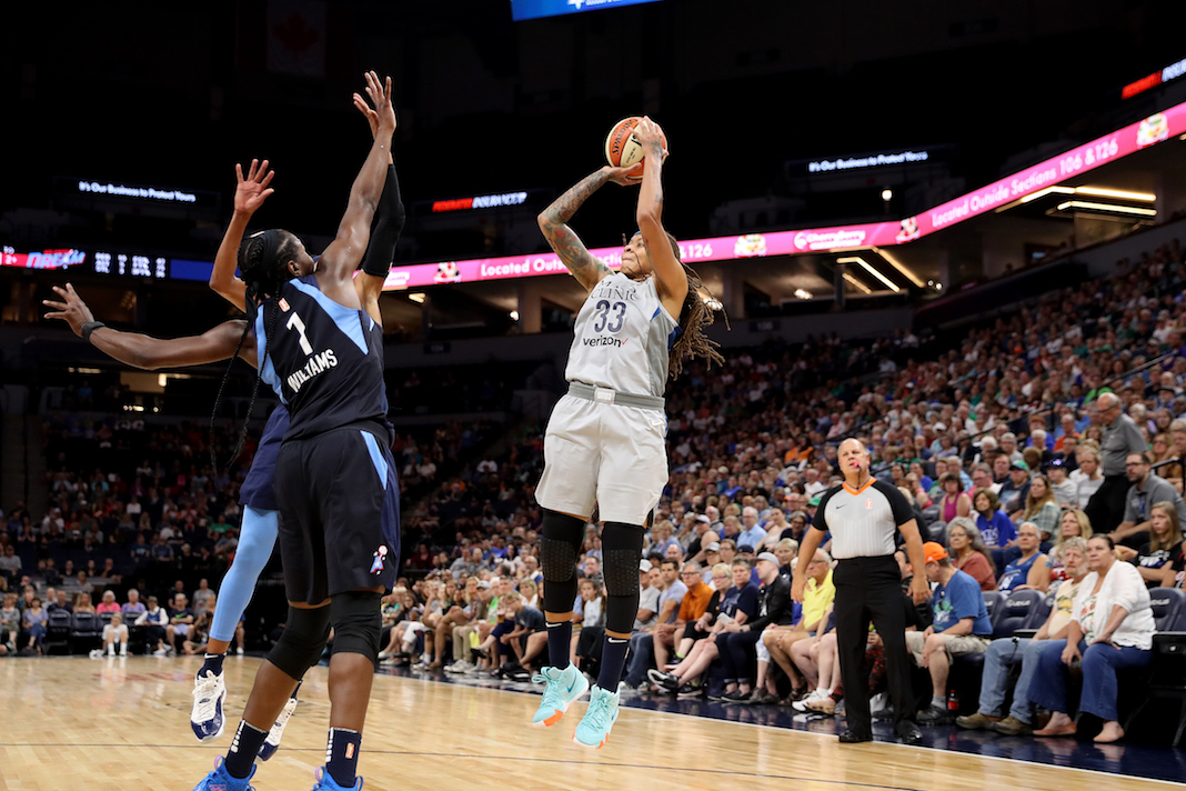 Seimone Augustus #33 of the Minnesota Lynx shoots the ball during the game against the Atlanta Dream on August 5, 2018 at Target Center.