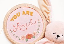 """""""You Are Loved"""" is just one of the many felt embroidery designs in Meghan Thompson's how-to book. Photo by Christopher Thompson."""