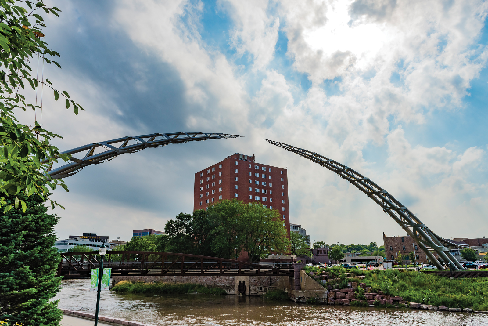 The Arc of Dreams towering over Falls Park in Sioux Falls