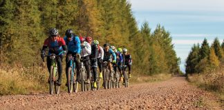 Duluth cyclist Matt Ryan leads the group on Stony River Road during Heck of the North 2018