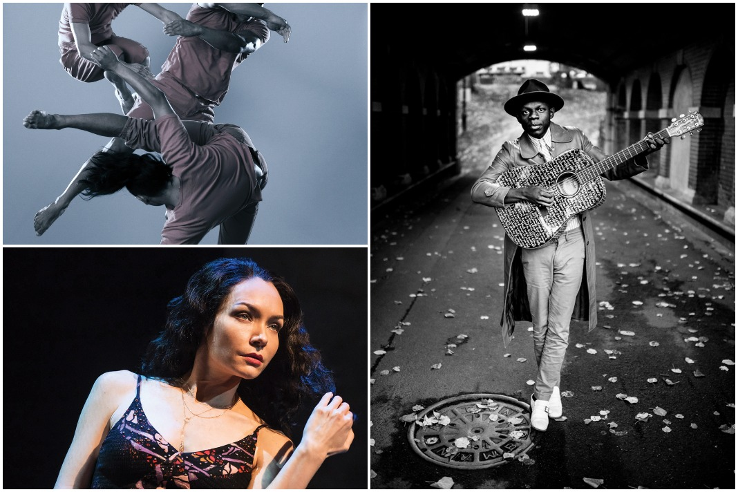 """Clockwise from upper left: Black Grave at Northrop, J.S. Ondara at First Avenue, """"The Band's Visit"""" at Orpheum Theatre"""