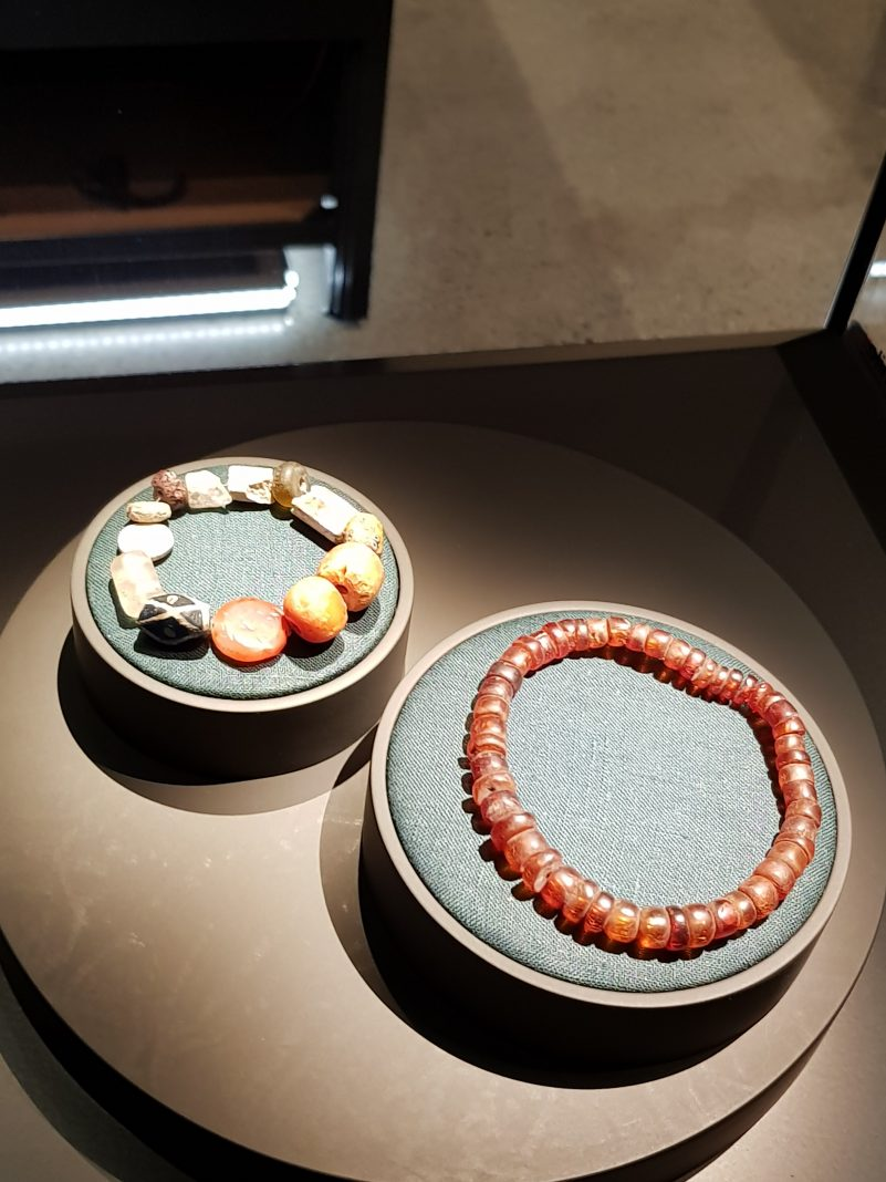 Viking jewelry, including amber beads (right)