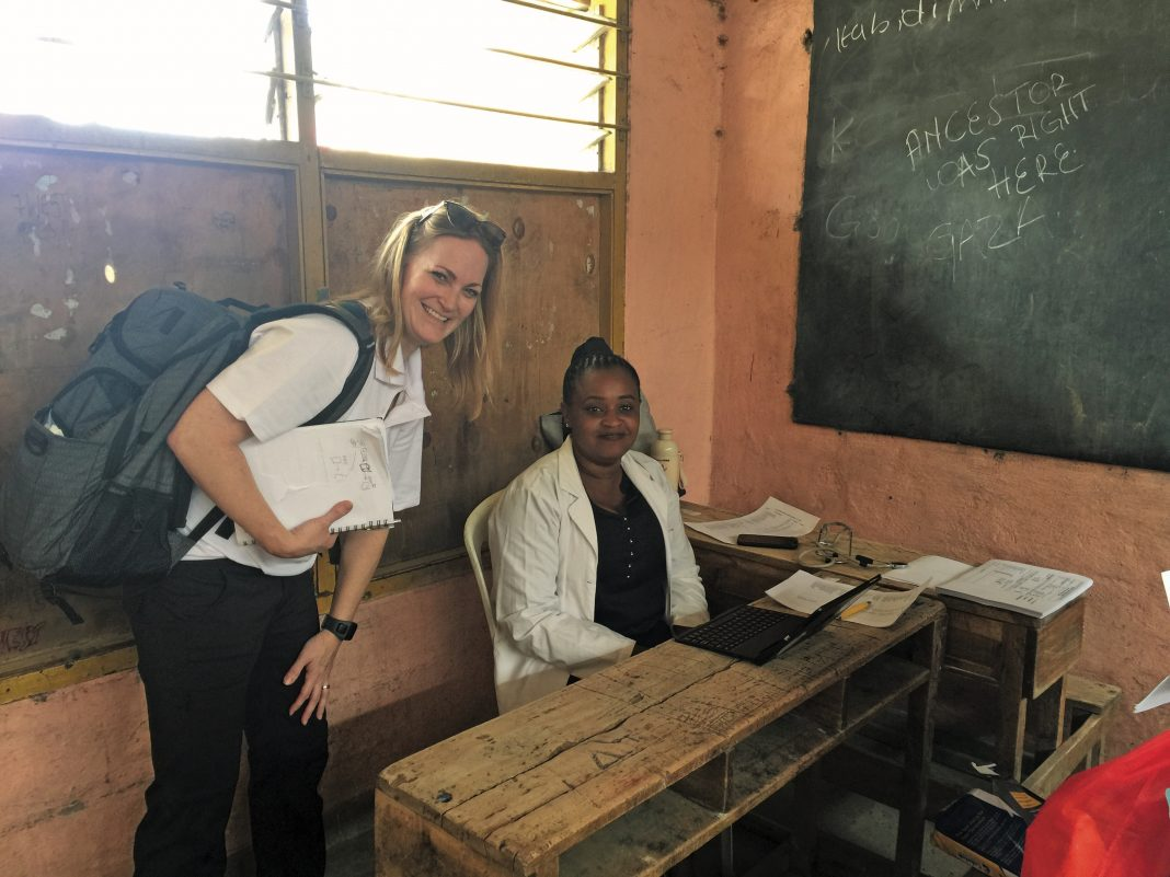 From left: Binary Bridge CEO and founder Lori Most and physician Diana Kasina in an exam room in Kenya