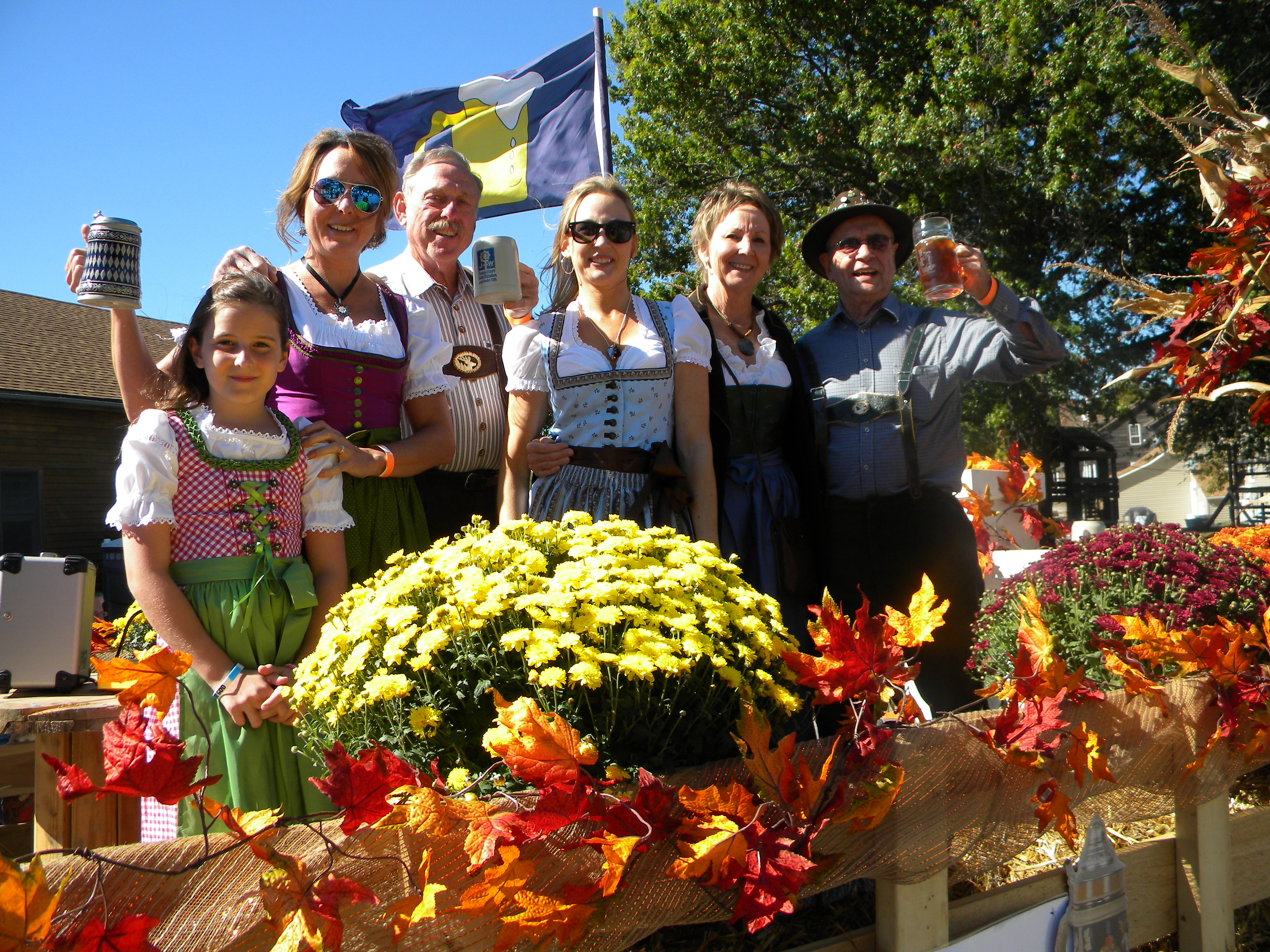 Family dressed in German garb at the Amana Colonies Oktoberfest celebration in Iowa