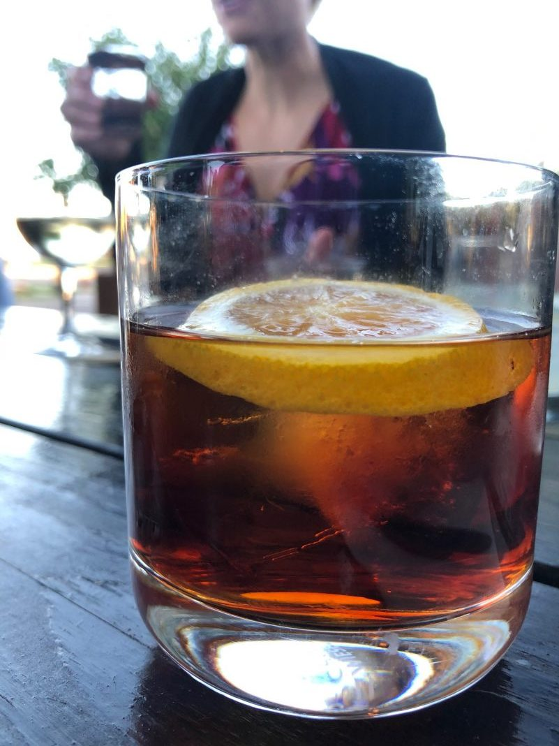 Perfect Negroni, with Sweet & Dry Vermouth, Campari, and gin, $10