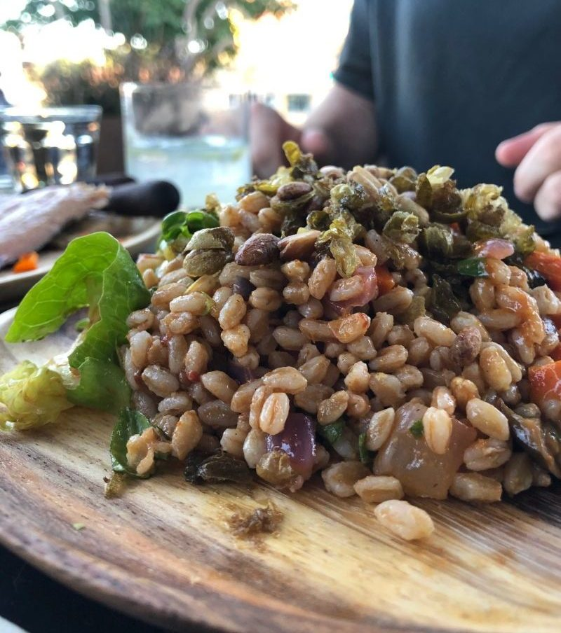 Caponata Salad, with farro, pine nuts, and roasted tomato vinaigrette, $10