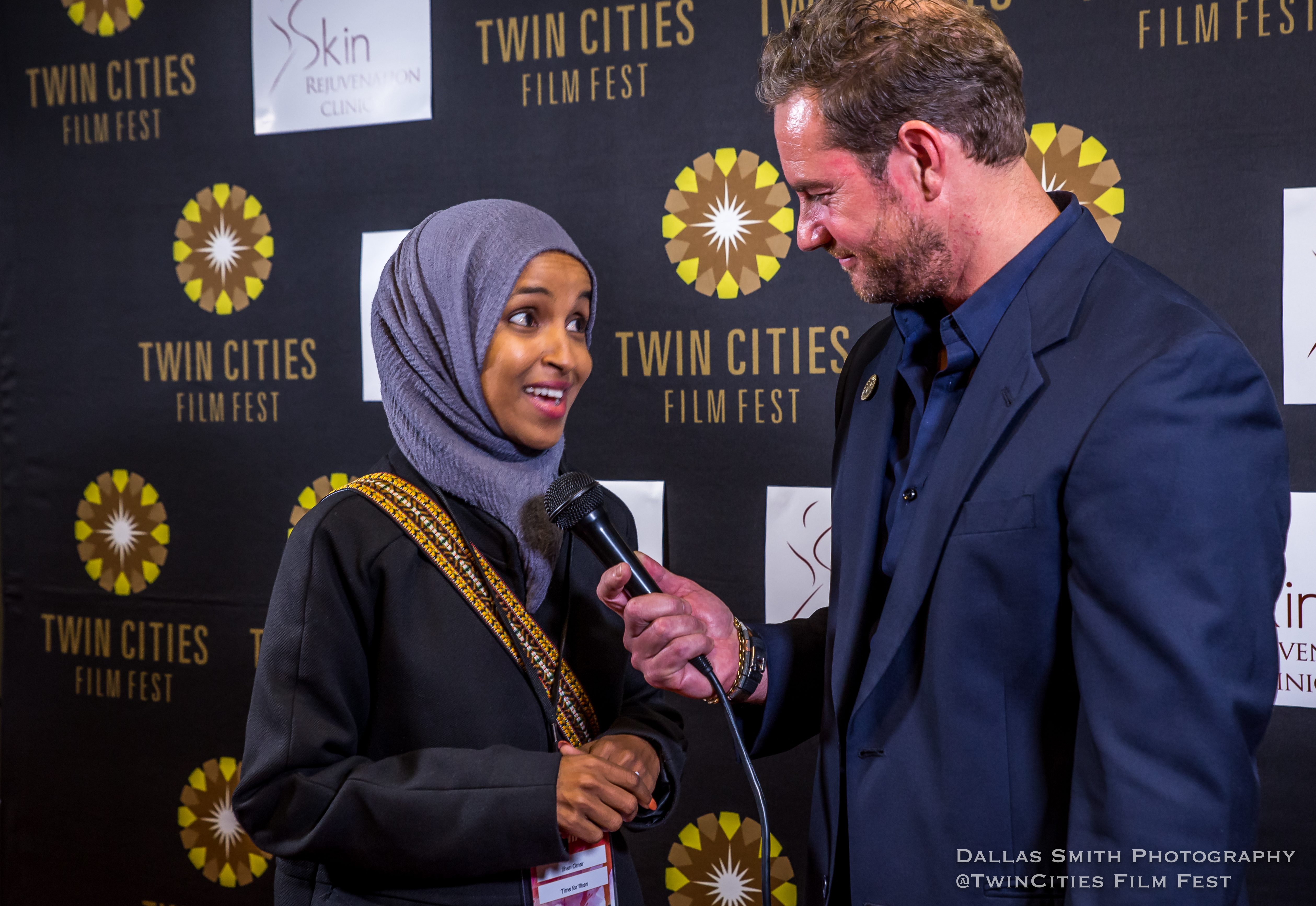 "Representative Ilhan Omar at the opening night of the 2018 Twin Cities Film Fest for the screening of the documentary, ""Time for Ilhan."" Director and producer Norah Shapiro and producer and director of photography Chris Newberry (both Minneapolis-based) also attended."