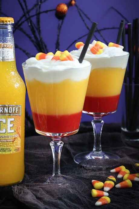 Channel your sweet tooth in the ode to candy corn Smirnoff Boo-Ya Cocktail