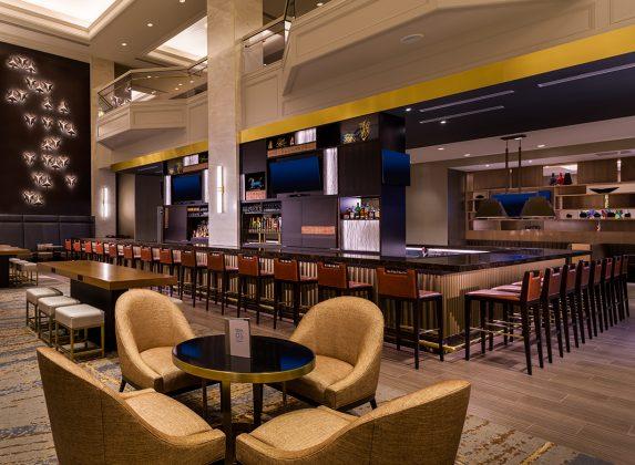 A sleek, fancy bar.