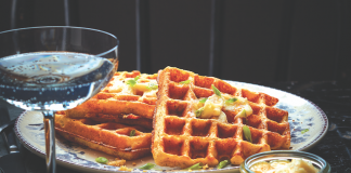 Savory Waffle Recipe with Corn Meal, Bacon Parmesan, and Black Pepper