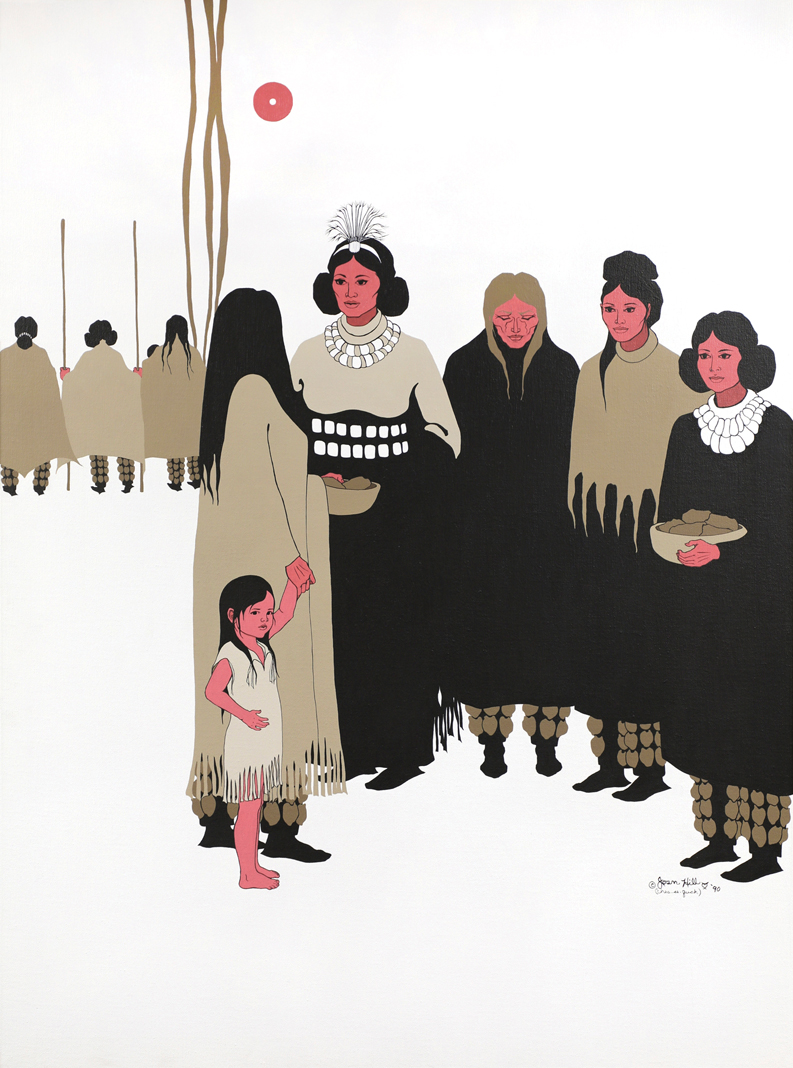 """Joan Hill; Muskogee Creek and Cherokee, b. 1930; """"Women's Voices at the Council,"""" 1990"""