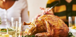 panorama of thanksgiving dinner with turkey, Joshua Resnick - Adobe Stock