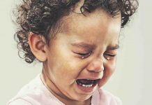 tears during drop-off at school