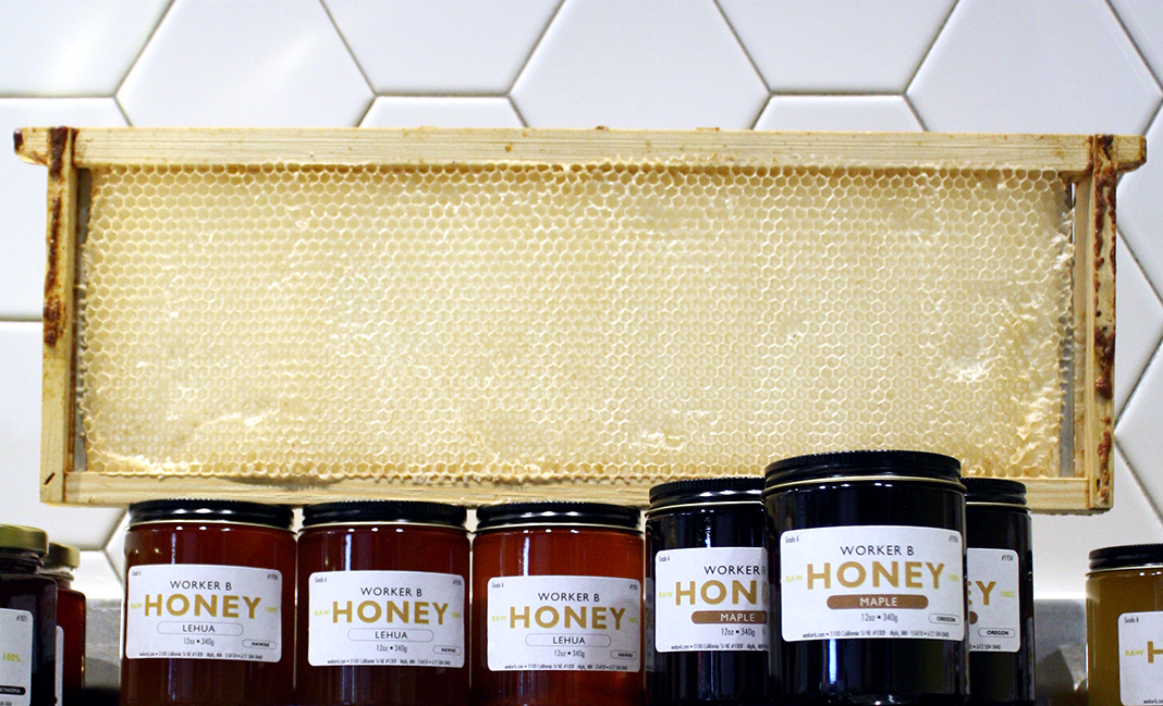 A display of Worker B honey.