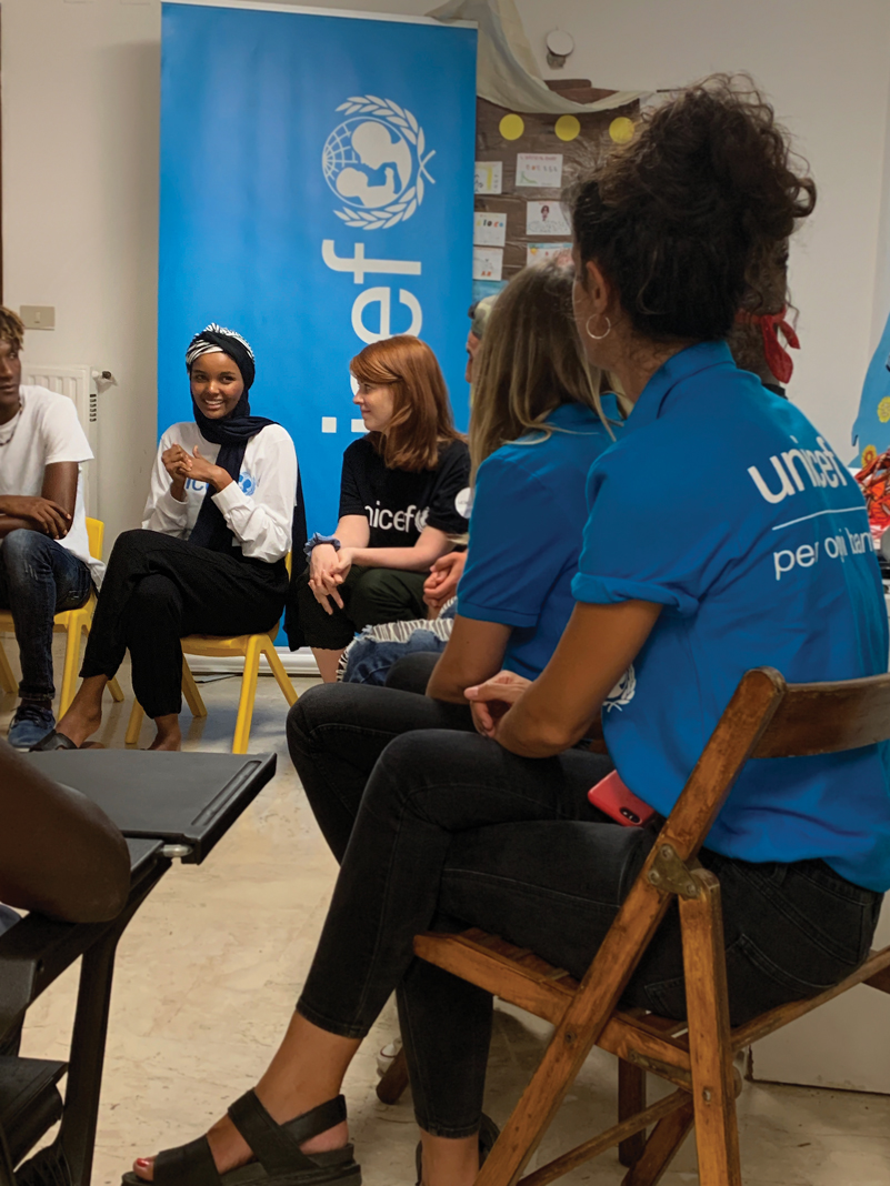 UNICEF ambassador Halima Aden on a field visit in Italy in August