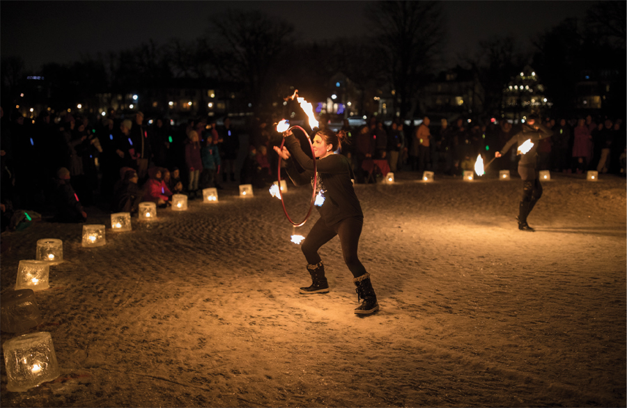A fire dancer at the City of Lakes Loppet