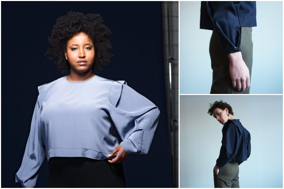 Edith Top, shown in cloudy blue silk (left) and classic blue cotton (right)