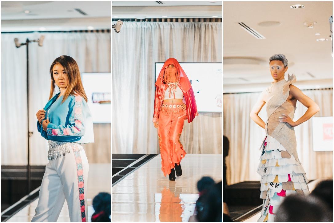 From left to right: Jocii Designs, Gaoxue Nancy Designs, Hi Hi Creative outfits at Northern Vogue's guerrilla runway
