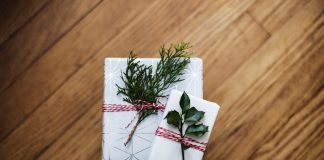 Holiday presents with a bit of greenery
