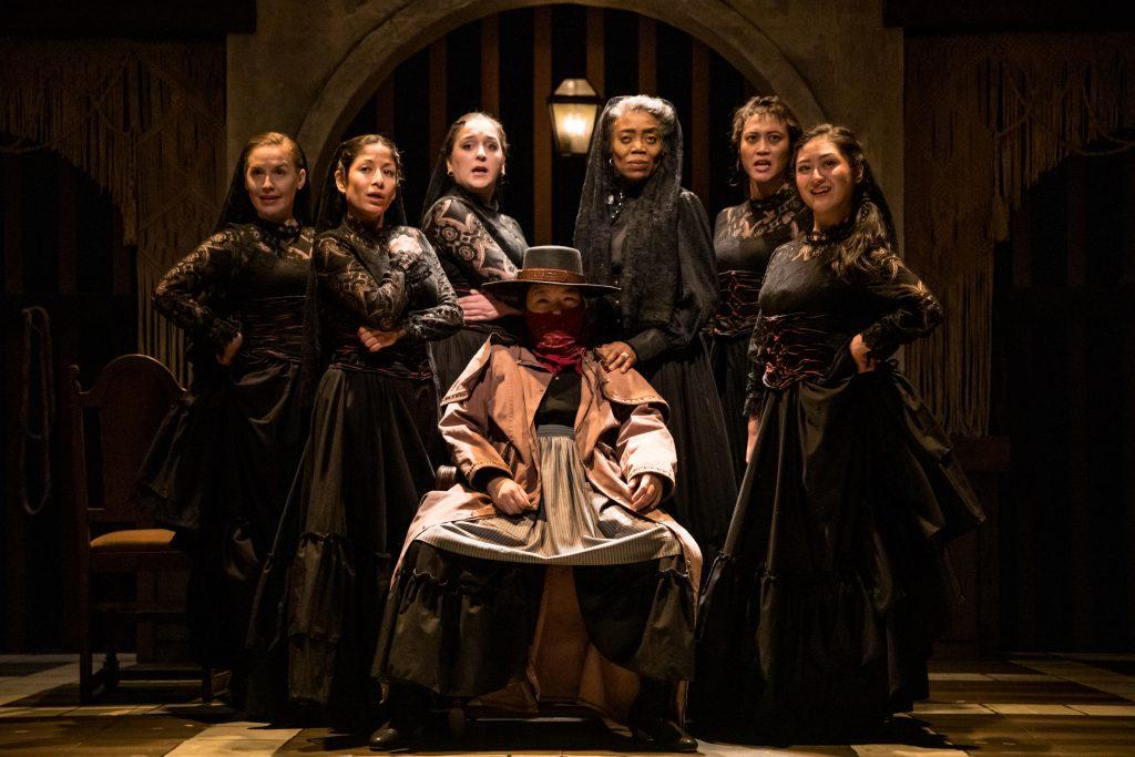 "Seven of the 10 women in Theater Latte Da's show, ""Bernarda Alba"""