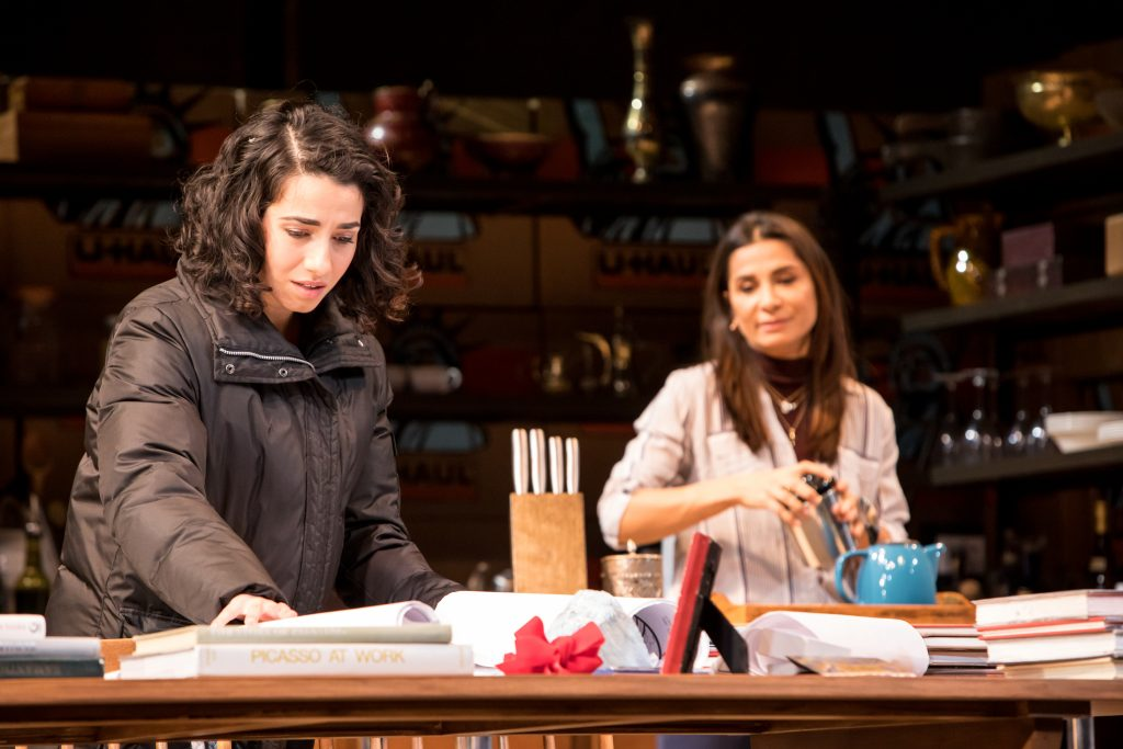 """Layan Elwazani (Maryam) and Gamze Ceylan (Noura) in the Guthrie Theater's production of """"Noura"""" by Heather Raffo and directed by Taibi Magar. Photo by Dan Norman."""