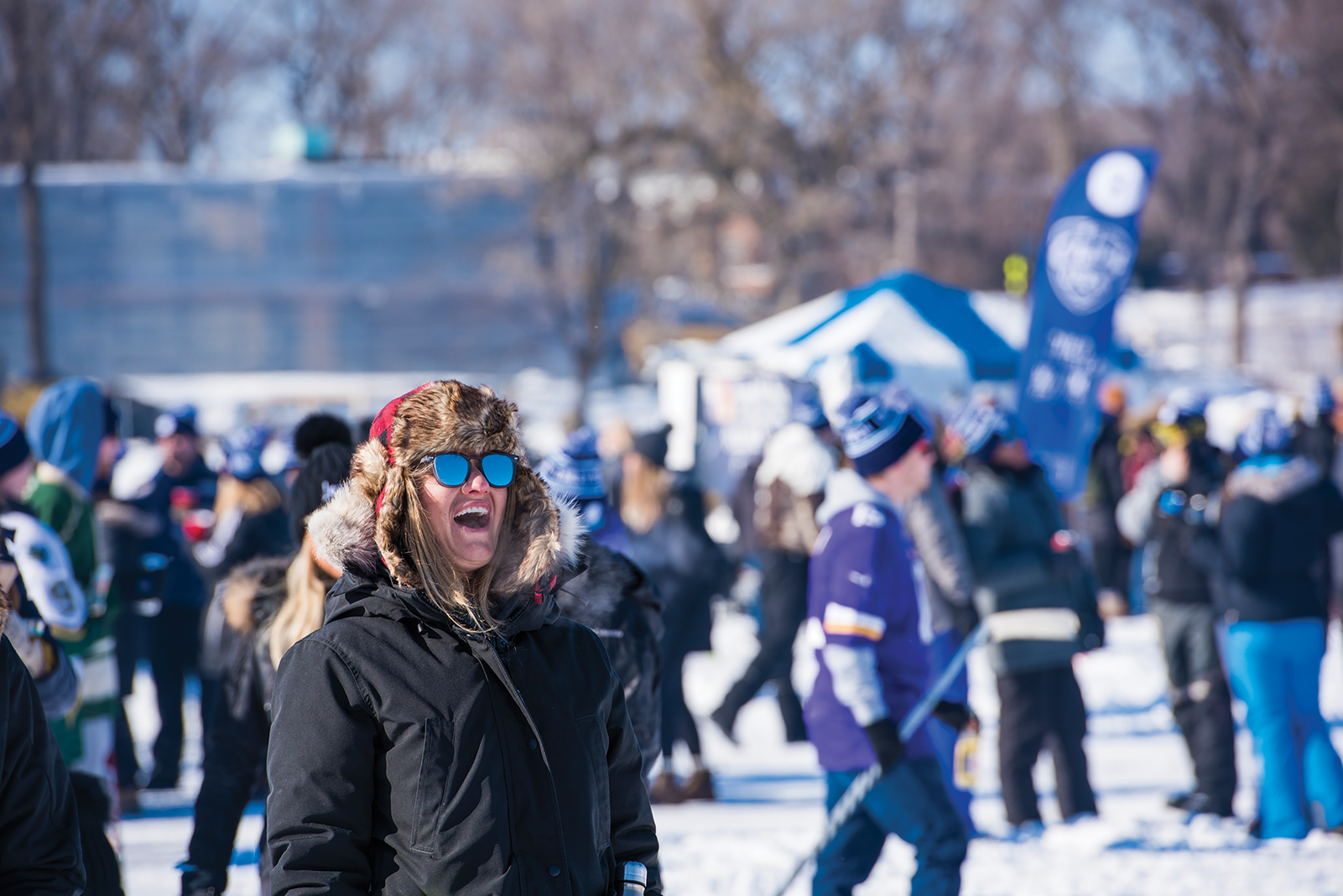 A reveler taking in the Chilly Open's frozen-lake vibes