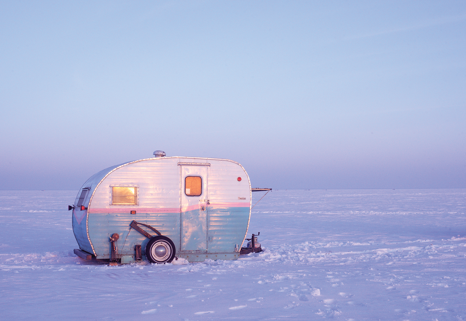 Every winter, Jenny Anderson brings her fishing camper, named Lil Hotdish, out onto the ice