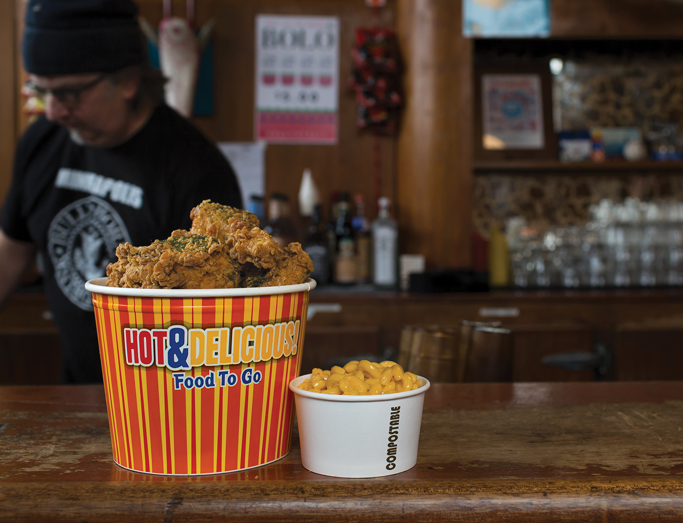 Bucket of chicken and mac 'n' cheese from Bull's Horn