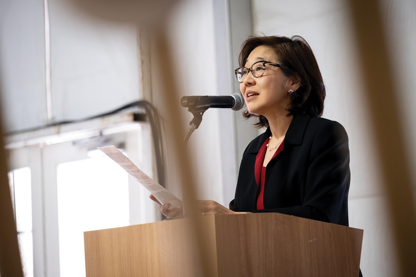 Dr. Helen Kim speaks at Redleaf Center for Family Healing's groundbreaking in November 2019