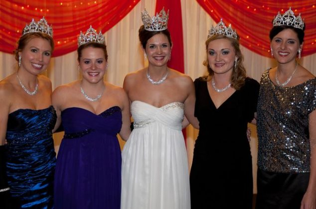 The 2012 Royal Ladies: North Wind Princess Gina Werner, East Wind Princess Monette Natus, Queen Ashleigh Farrell, West Wind Princess Elizabeth Fleming (current outgoing wardrobe coordinator), South Wind Princess Lindsay Auger; wintercarnival.com/smugmug