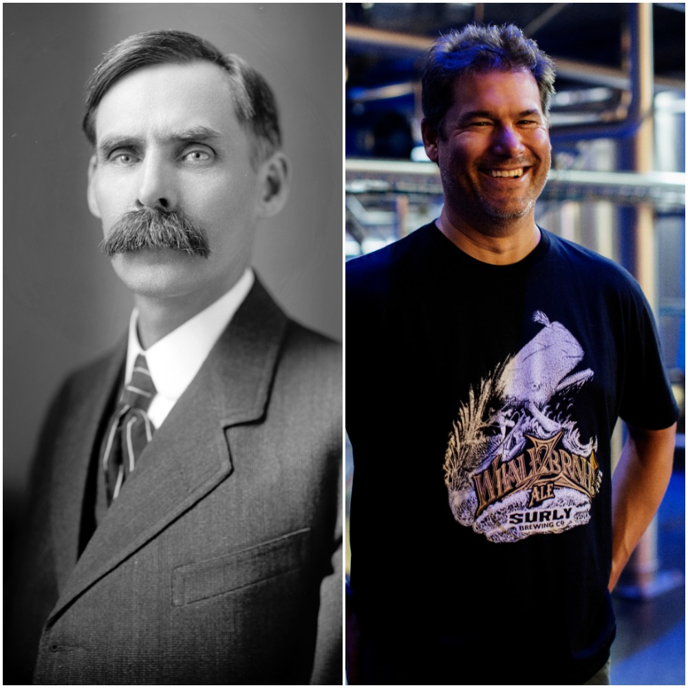 Left to right: U.S. House representative Andrew Volstead, who pushed through the act that outlawed alcoholic beverages in the United States; Surly owner and brewer Omar Ansari, who pushed through the law that allowed breweries to serve beer on-site