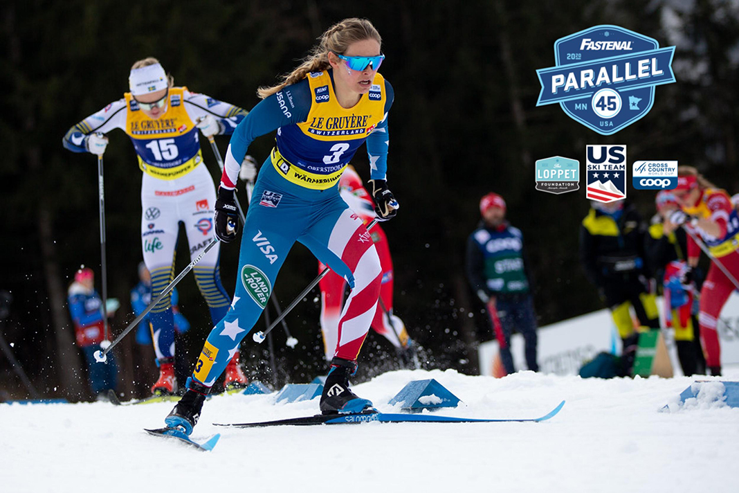 Minnesota native and Olympic gold medalist Jesse Diggins cross-country skiing