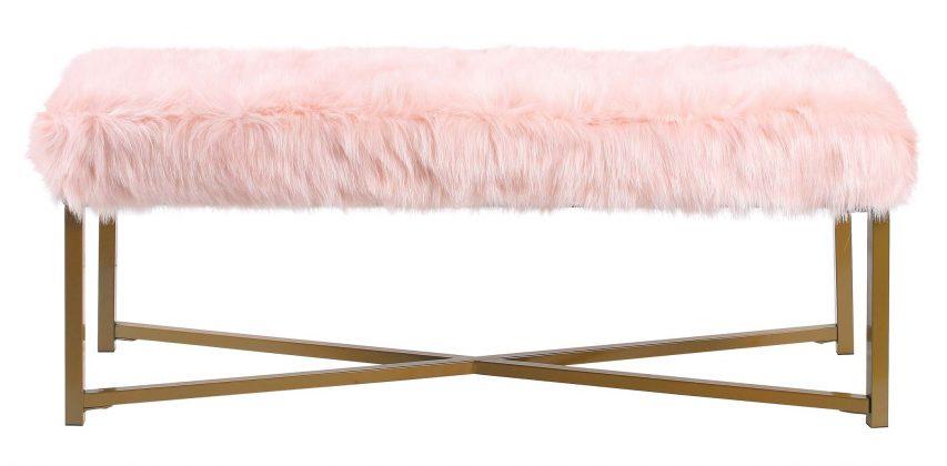 Pink Faux Fur Bench