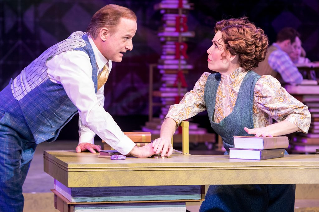 """Michael Gruber and Ann Michels in """"The Music Man"""" at Chanhassen Dinner Theatres. Photo by Dan Norman."""