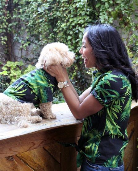 Midnight Palms green BBQ shirt by Dog Threads